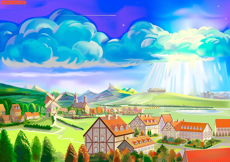 Town Landscape Vector Illustration: Vector Illustrations Examples, Vector
