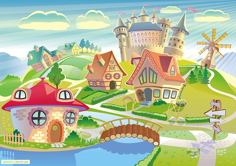 Village Style House Village in Cartoon Style